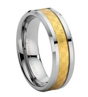 Gold Carbon Fiber Inlay Tungsten Carbide Wedding Band Ring - Free Ship
