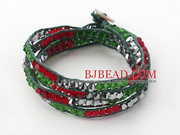 Fashion Red Green Woven Bangle Bracelet