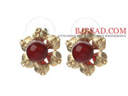 Elegant Style Carnelian And Golden Color Metal Flower Stud Earrings