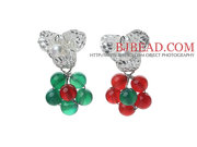 2013 Christmas Design Green Agate And Red Rhinestone Earrings