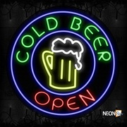 Cold Beer Open With Blue Circle Border And Beer Mug Neon Sign