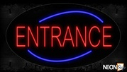 Entrance In Red With Blue Arc Border Neon Sign