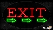 Exit With 3 Green Arrows Neon Sign