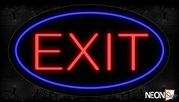 Exit With Circle Border Neon Sign