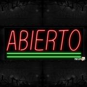 Abierto In Red With Green Lines Neon Sign